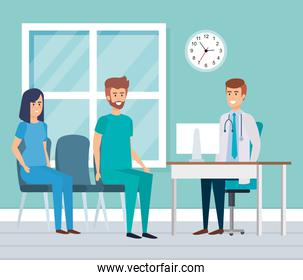 doctor and practitioner in consulting room
