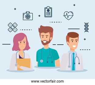 group of doctors medical staff with set icons
