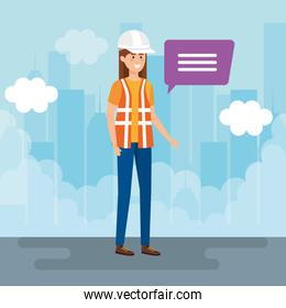 female builder constructor talking in the city