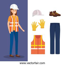 female builder with equipment