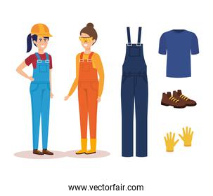 female builders with equipment