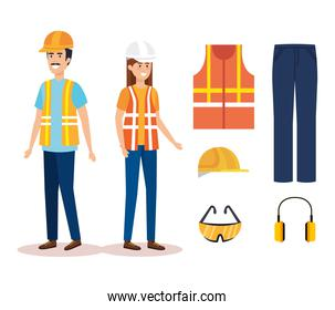 builders constructors couple with equipment