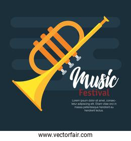 trumpet musical isolated design