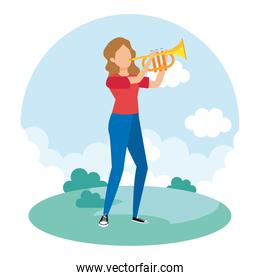 woman playing trumpet musical