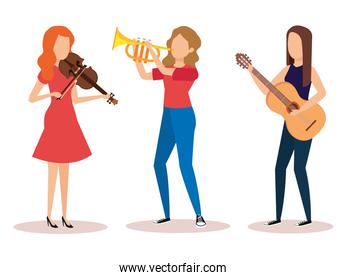 group of women playing instruments