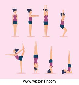 Set of Girls doing yoga design