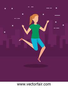 Girl jumping and city design