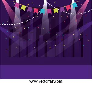 Party banner and buildings design