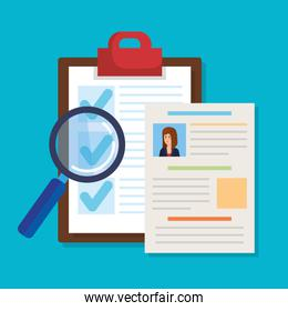 curriculum vitae with checklist and magnifying glass