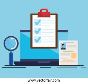 curriculum vitae in laptop with magnifying glass