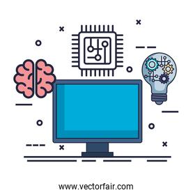 computer with artificial intelligence icons