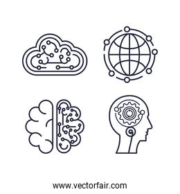 artificial intelligence set icons