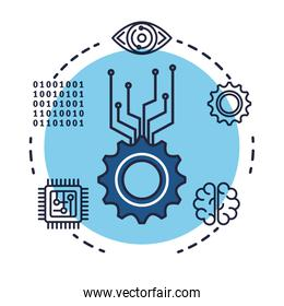 gears with artificial intelligence icons