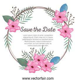 invitation card with beautiful flowers and leafs