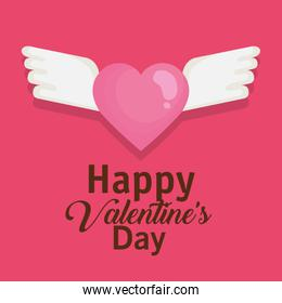happy valentines day card with heart flying