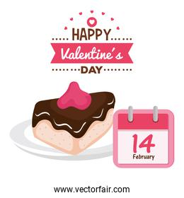 valentines day card with calendar