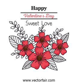 valentines day card with flowers
