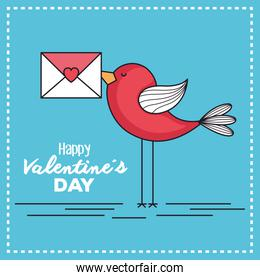 valentines day card with bird and envelope