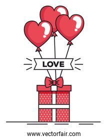 valentines day card with balloons helium and gift