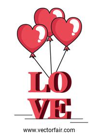 valentines day card with balloons helium in shape heart