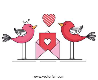 valentines day card with birds and envelope