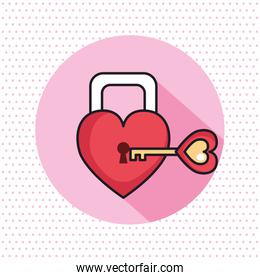 valentines day card with padlock and key