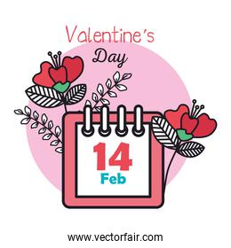 valentines day card with calendar and flowers