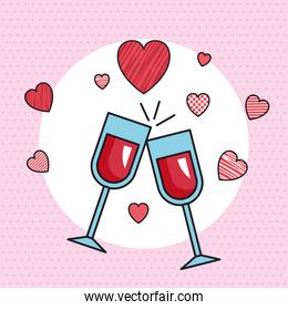 valentines day card with cups of wine
