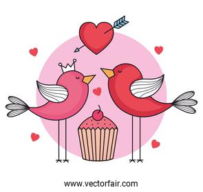 valentines day card with birds and cupcake
