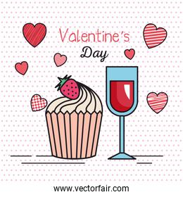 valentines day card with hearts and cup wine