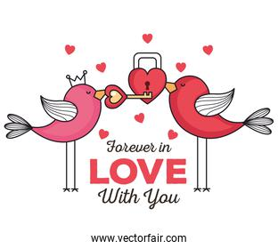 valentines day card with birds and padlock