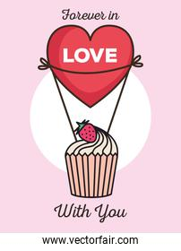 valentines day card with cupcake and heart