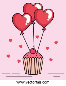 valentines day card with cupcake and balloons helium
