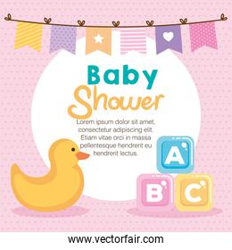 baby shower card with set items