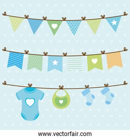 baby shower card with set items hanging