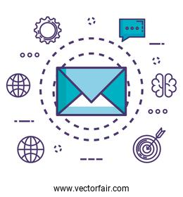 envelope with innovation icons