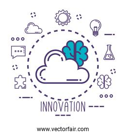 cloud and brain with innovation icons