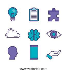 set of technological innovation icons