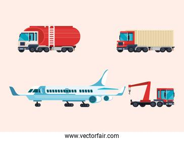 delivery service set of vehicles