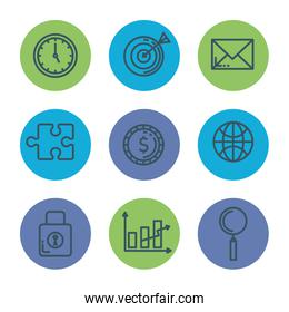 business marketing set icons