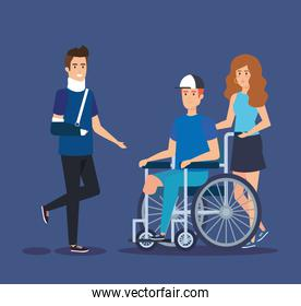 man with hand fracture and person sitting in the wheelchair