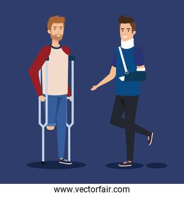 disabled man with crutches and person with hand fracture