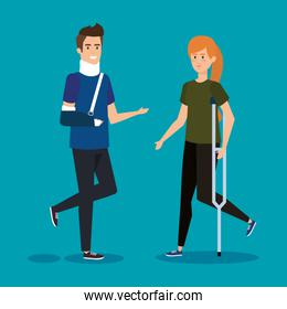 man with orthopedic collar and woman with crutches
