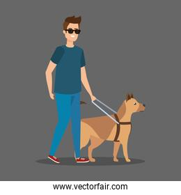disabled man blind wearing sunglasses with dog