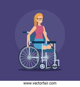 disabled woman sitting in the wheelchair without legs