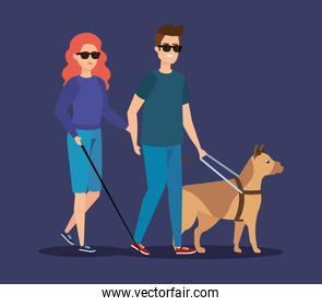disabled woman and man blind with sunglasses