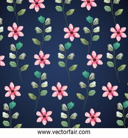exotic flowers plants with leaves design background