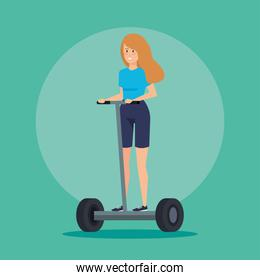 woman with hairstyle riding electric scooter