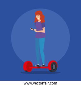 woman with smartphone riding electric scooter