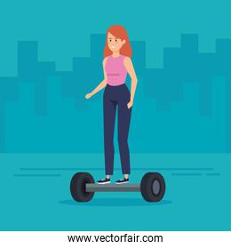 woman wearing casual clothes riding electric scooter